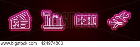 Set Line Airline Ticket, Scale With Suitcase, And Plane. Glowing Neon Icon. Vector