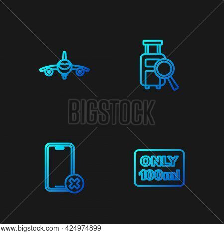 Set Line Liquids In Carry-on Baggage, No Cell Phone, Plane And Lost. Gradient Color Icons. Vector