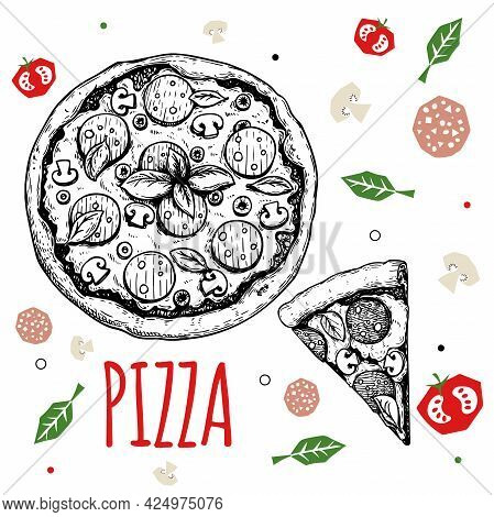 Hand Drawn Pizza Pepperoni Design Template. Sketch Style Traditional Italian Food. Doodle Flat Ingre