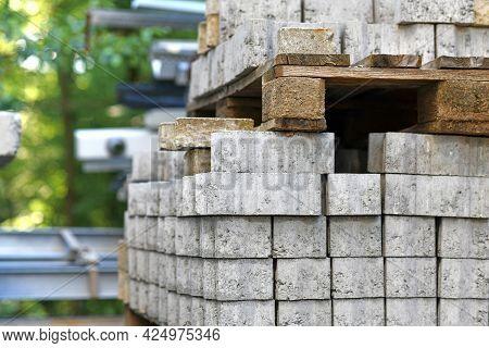 Cobble Stones On Palette At Construction Site