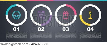 Set Line Robot Vacuum Cleaner, Washer, Bucket With Foam And Vacuum. Business Infographic Template. V