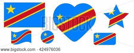 Set Democratic Republic Of The Congo Flags, Banners, Banners, Symbols, Flat Icon. Vector Illustratio