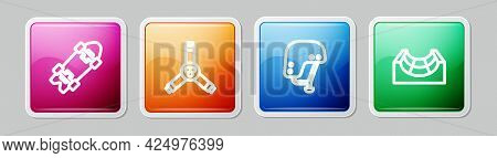 Set Line Longboard Or Skateboard, Skateboard Y-tool, Helmet And Park. Colorful Square Button. Vector