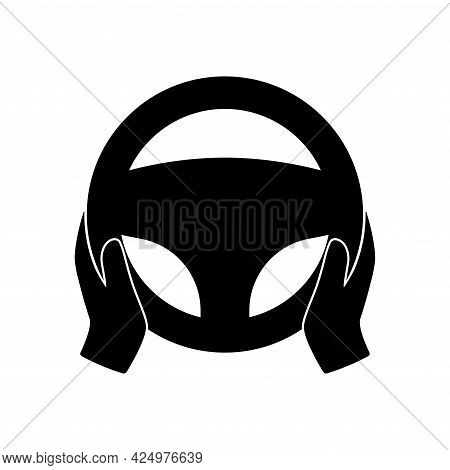 Steering Wheel Icon. Hands On Steering Wheel. Driver. Driving Car Symbol. Test Drive. Silhouette Ill