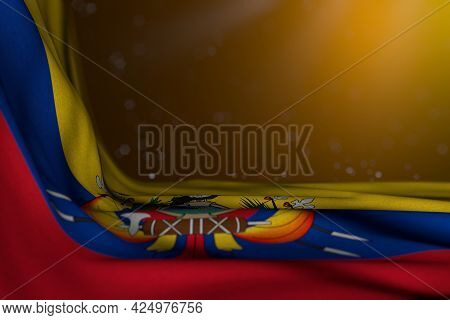 Pretty Dark Image Of Ecuador Flag Lying Flat In Corner On Yellow Background With Selective Focus And