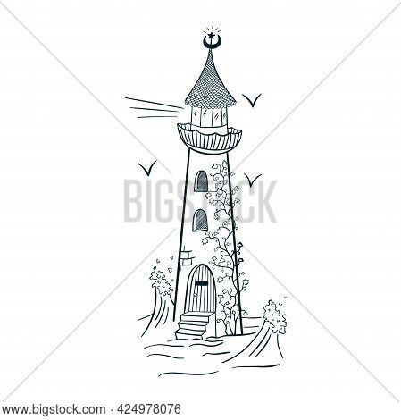 Lighthouse With Ivy Engraving Style Line Art. Hand Drawn Magic Beacon Isolated Vector Illustration F