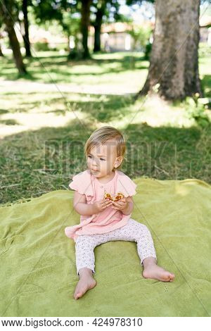 Little Girl Sits On A Blanket On A Green Lawn And Eats A Pancake