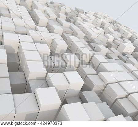 3D render of an abstract landscape of extruding cubes