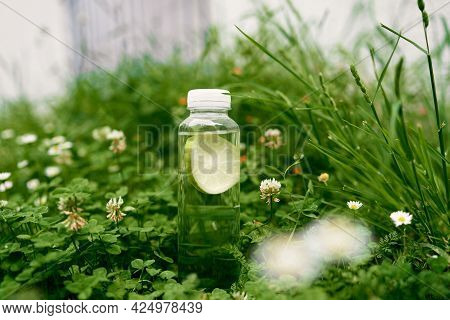 Bottle Of Water With Lemon Stands On Green Grass In Daisies And Clovers