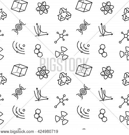 Seamless Vector Pattern With Science. For Fabric Paper Wrap Textile Poster Scrapbooking Wallpaper Or
