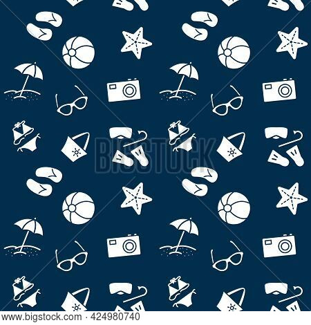 Seamless Vector Pattern With Summer Beach. For Fabric Paper Wrap Textile Poster Scrapbooking Wallpap