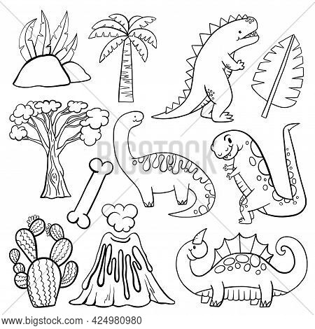Line Drawing, Coloring Dinosaur Scene Making Elements.