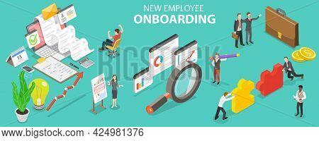 3d Isometric Flat Vector Conceptual Illustration Of New Employee Onboarding, Organizational Socializ