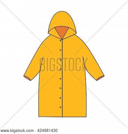 Cartoon Yellow Raincoat. Autumn Waterproof Coat. Fall And Spring Season Clothing For Cold Rainy Weat