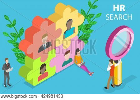 3d Isometric Flat Vector Conceptual Illustration Of Hr Search, Hiring Skilled Labor Staffing