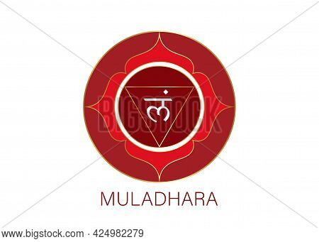 Muladhara Chakra Logo Template. First Root Chakra Symbol. Red Sacral Sign Meditation, Yoga Round Man