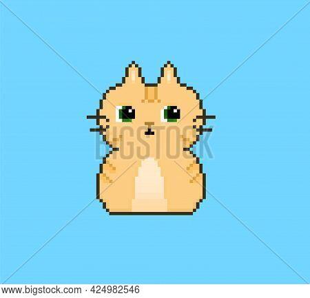 Cute Pixel Fat Cat, Orange Kitty, Simple Art