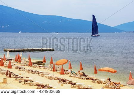 Summer Vacation.  Montenegro, Adriatic Sea. View Of Kotor Bay Near Tivat City