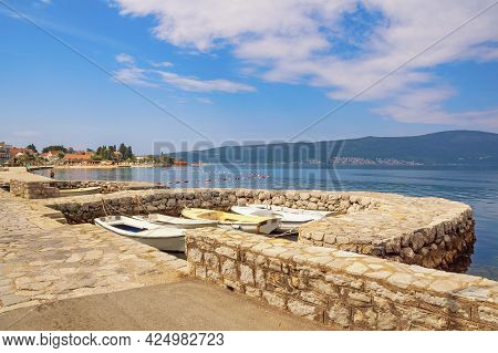 Beautiful Summer Mediterranean Landscape. Montenegro, Adriatic Sea. Coast Of Bay Of Kotor Near Tivat