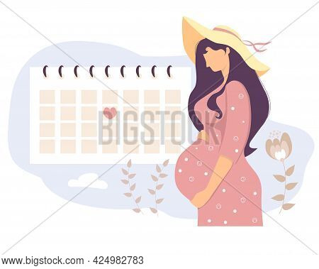 Happy Pregnant Girl Looks At The Calendar. A Cute Woman On A Rest In A Sun Hat Hugs Her Belly And St