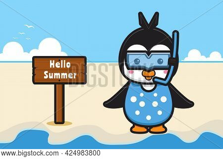 Cute Penguin Wearing Goggles With A Summer Greeting Banner Cartoon Vector Icon Illustration. Design
