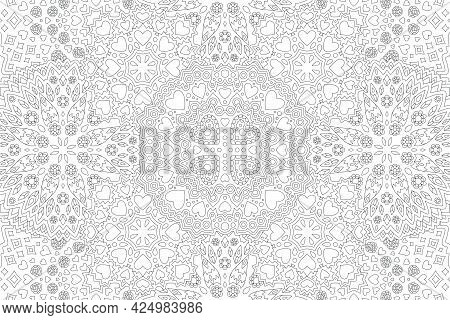 Beautiful Monochrome Linear Vector Illustration For Valentines Day Coloring Book With Detailed Flora