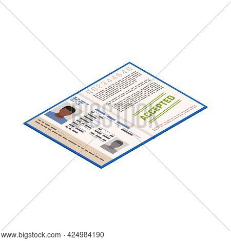 Refugee Document With Stamp Accepted Isometric Icon Vector Illustration