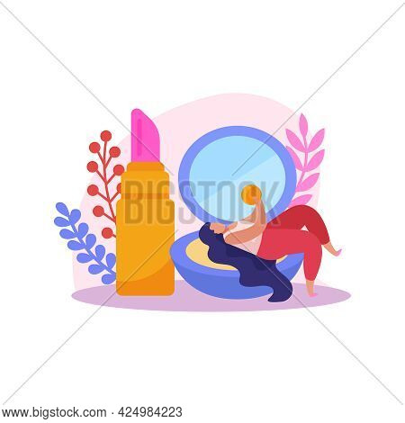 Flat Makeup Icon With Compact Powder Box With Mirror Lipstick And Woman Character Vector Illustratio