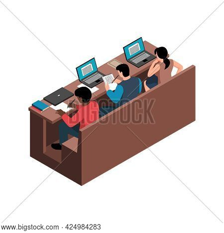 Students Studying At Lecture Hall Isometric Icon Vector Illustration