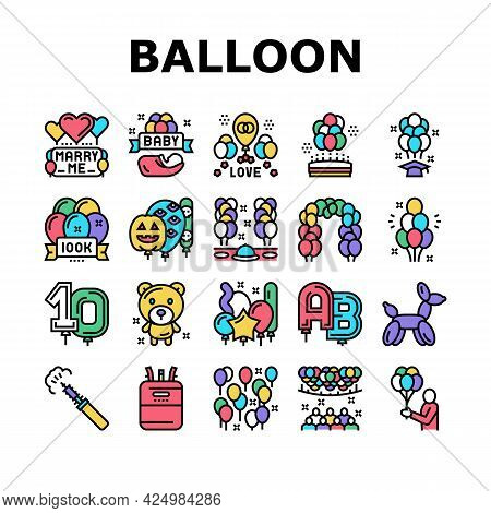 Balloon Decoration Collection Icons Set Vector. Birthday And Wedding Day Celebration, Graduation And