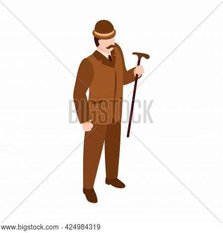 Isometric English Fashion Icon With Man Dressed In 19th Century Clothing Vector Illustration