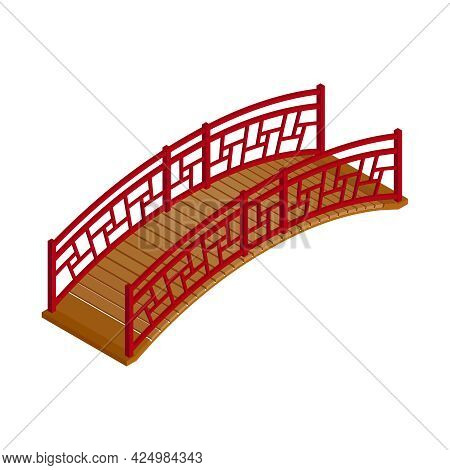 Wooden Asian Arched Bridge On White Background 3d Isometric Vector Illustration