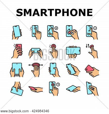 Smartphone Gesture Collection Icons Set Vector. Zooming And Swiping, Press And Holding Finger On Sma