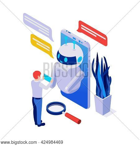 Isometric Chatbot Messenger Application With Smartphone And Human Character 3d Vector Illustration