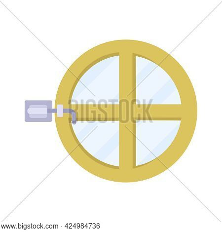 Small Round Window With Green Frame And Latch On White Background Flat Vector Illustration