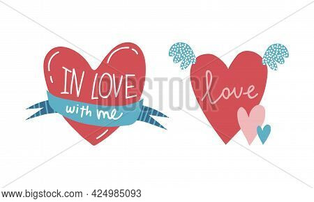 Girl Power Trendy Stickers With Red Fluttering Heart Vector Set