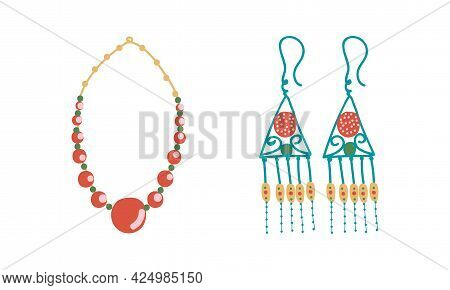 Jewellery Or Jewelry Item As Personal Adornment With Necklace And Earring Vector Set