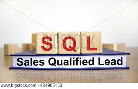 Sql Sales Qualified Lead Symbol. Wooden Cubes On Book With Words 'sql Sales Qualified Lead'. White B