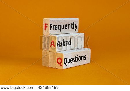 Faq Frequently Asked Questions Symbol. Concept Words 'faq Frequently Asked Questions' On Wooden Bloc