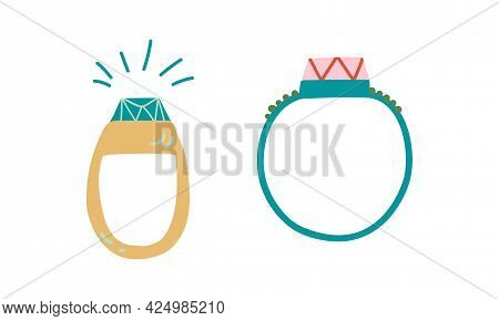 Jewellery Or Jewelry Item As Personal Adornment With Ring Vector Set