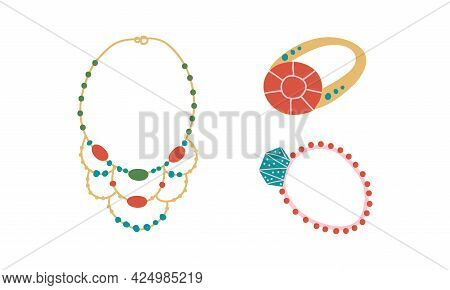 Jewellery Or Jewelry Item As Personal Adornment With Necklace And Ring Vector Set
