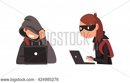 Man And Woman Hacker In Hoody And Mask Stealing Money Using Laptop Vector Set