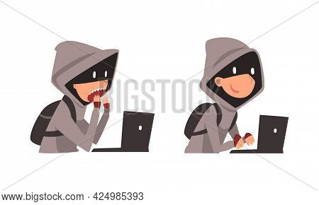Hacker In Hoody And Mask Stealing Money Using Laptop Vector Set