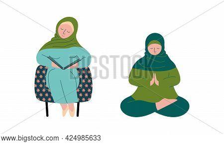 Muslim Woman In Hijab Reading Book And Worshiping Allah Vector Set