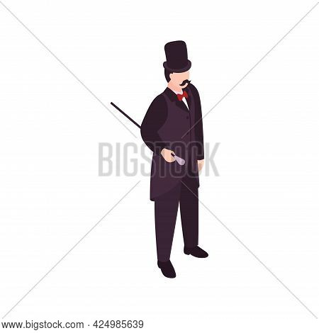 Victorian Era Male Fashion Icon With Elegant Man In Black Suit Hat Holding Cane Vector Illustration