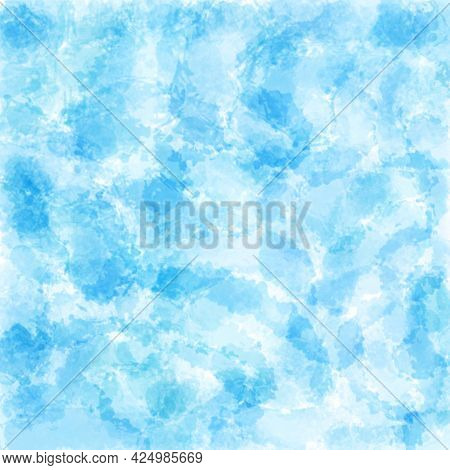 Abstract Watercolor Blue Background, Hand-painted Textures With Paint, Circles, Spots, Splashes, Str