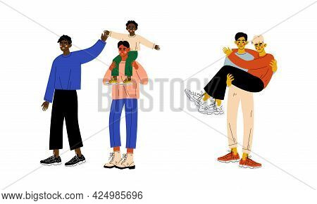 Homosexual Couple With Children Spending Time Together Vector Set