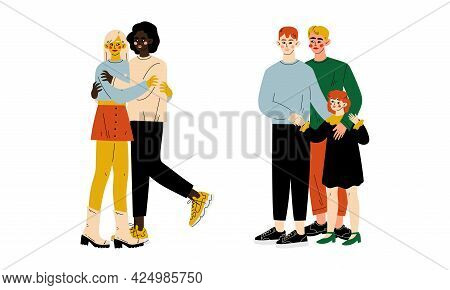 Homosexual Couple With Child Spending Time Together Vector Set