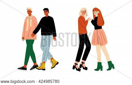 Homosexual Couple Embracing And Holding Hands Walking Together Vector Set