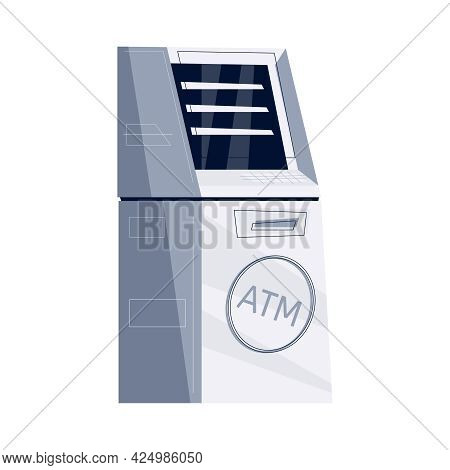 Flat Icon Of Atm Machine On White Background Vector Illustration